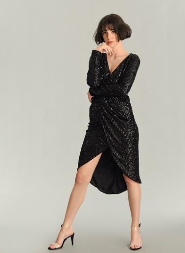 Agenda Payet İşlemeli Kruvaze Elbise Siyah